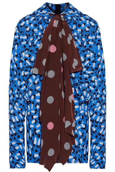 Marni - Pussy-bow Printed Crepe And Chiffon Blouse - Blue