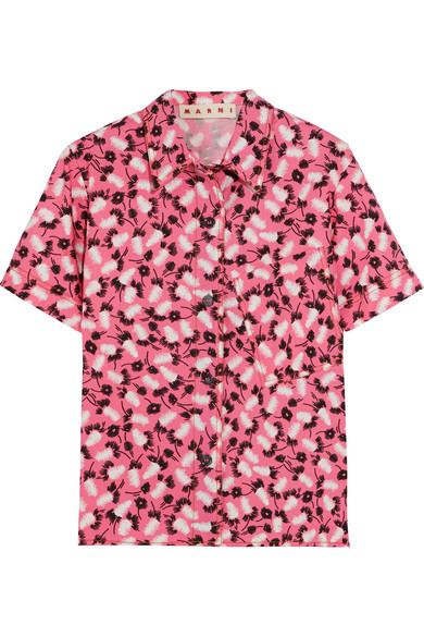 Marni - Printed Cotton-poplin Shirt - Pink