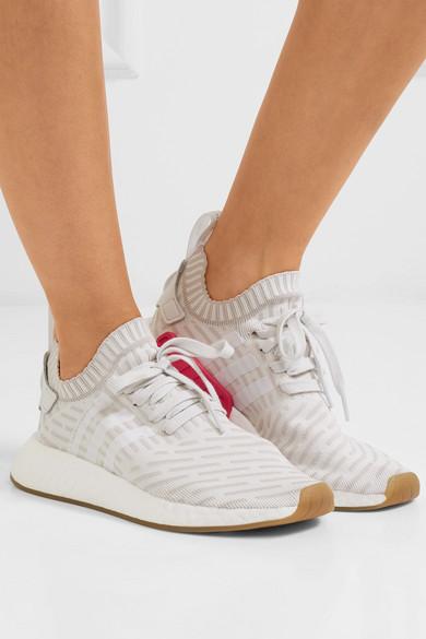 adidas Originals NMD_R2 Primeknit Sneakers mit Lederbesatz