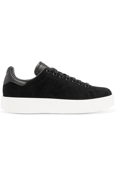 Stan Smith Bold leather-trimmed suede sneakers