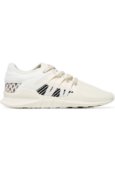Eqt Racing Adv Faux Suede-trimmed Stretch-knit And Neoprene Sneakers - White adidas Originals Wpz8hBJsT