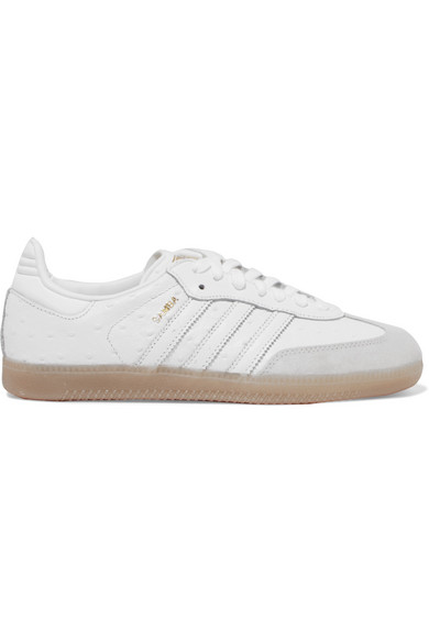 Samba Suede-trimmed Ostrich-effect Leather Sneakers - White adidas Originals Kv64h48
