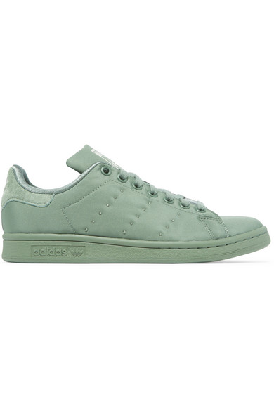 Stan Smith Suede Trimmed Satin Twill Sneakers by Adidas Originals