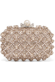 Cloud embellished satin clutch