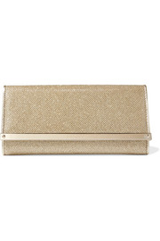 Jimmy Choo Milla textured-lamé clutch