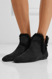 The Row Eros shearling-trimmed nubuck ankle boots