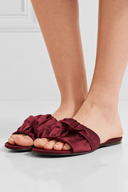 The Row Ellen ruched satin slides
