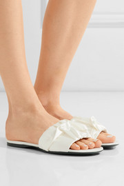 Ellen ruched satin slides