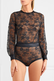 Bijoux satin-trimmed lace bodysuit