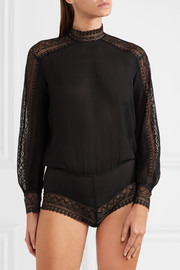 Eres Eclectic lace-trimmed silk-crepe bodysuit
