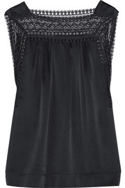 Eclectic H jacquard lace-trimmed silk-satin chemise