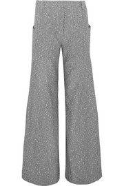Wool-blend tweed wide-leg pants