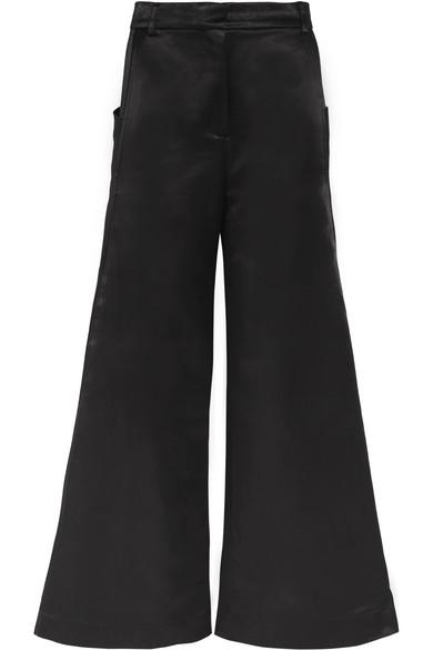 Duchesse-satin Wide-leg Pants - Black Topshop 67AVnGwvJ