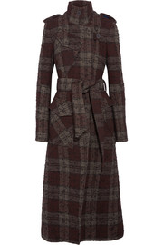 Plaid bouclé-tweed trench coat