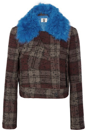 Cropped shearling-trimmed plaid bouclé-tweed jacket