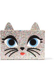 Choupette embellished glittered acrylic box clutch