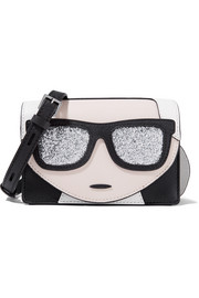 Karl Lagerfeld K/Ikonic glitter-embellished textured-leather shoulder bag