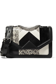 Karl Lagerfeld K/Klassic elaphe, suede and leather shoulder bag