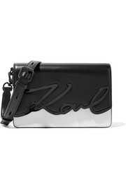 Karl Lagerfeld K/Metal Signature two-tone embellished leather shoulder bag