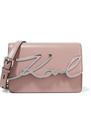 Karl Lagerfeld K/Metal Signature embellished leather shoulder bag