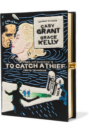 To Catch A Thief appliquéd cotton-faille clutch