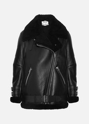 Velocite leather-trimmed shearling biker jacket
