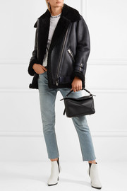 Velocite leather-trimmed shearling jacket