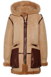 Acne Studios Lorin hooded leather and shearling-trimmed suede coat