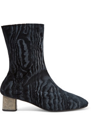 Plopt devoré stretch-velvet ankle boots