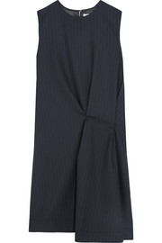 Acne Studios Danya asymmetric pinstriped wool-twill dress