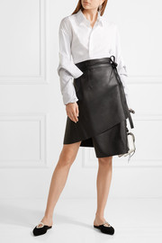 Lakos leather wrap skirt
