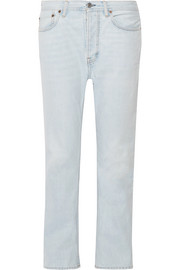 Log high-rise straight-leg jeans