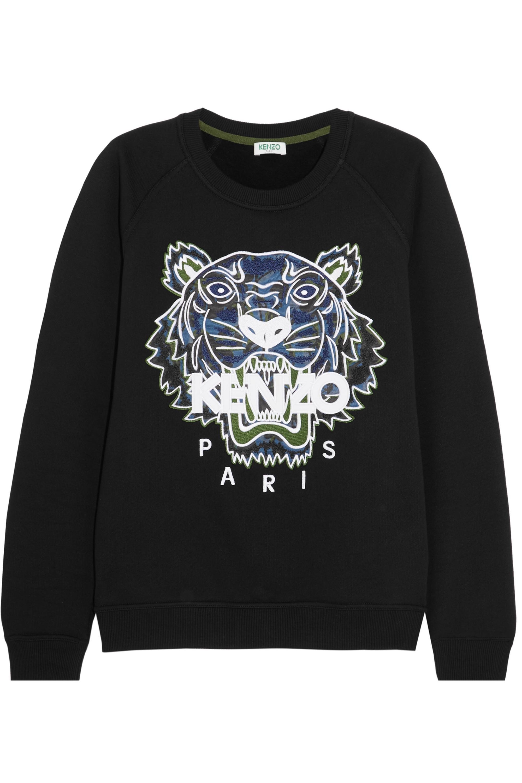 KENZO Tiger appliquéd cotton-jersey sweatshirt
