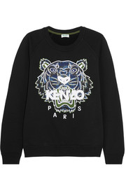 KENZO Tiger appliquéd cotton-jersey sweatshirt