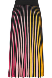 Ribbed cotton-blend midi skirt