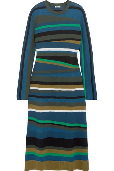KENZO - Striped Knitted Midi Dress - Navy