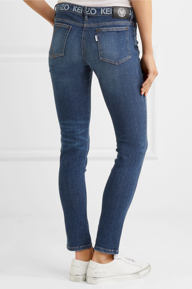 KENZO Bedruckte halbhohe Skinny Jeans