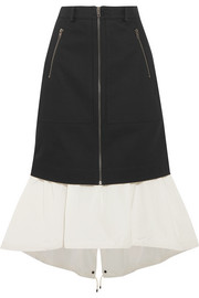 KENZO Layered denim and shell midi skirt