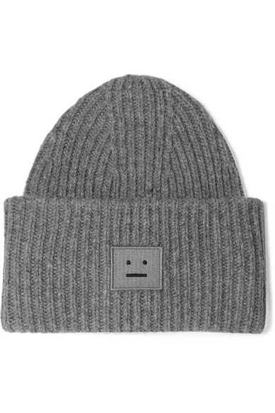 Acne Studios Pansy AppliquÉD Ribbed Wool Beanie In Gray ... 025ba54995d