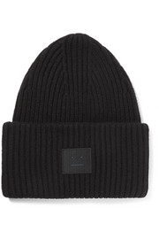 Acne Studios Pansy appliquéd ribbed wool-blend beanie