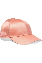 Camp Face appliquéd satin baseball cap