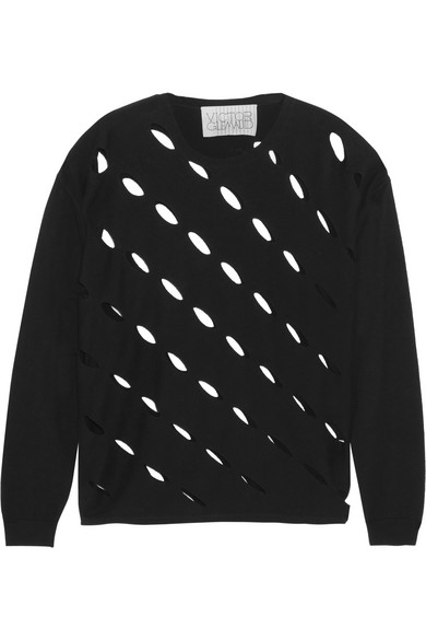 VICTOR GLEMAUD Cutout Cotton And Cashmere-Blend Sweater in Black