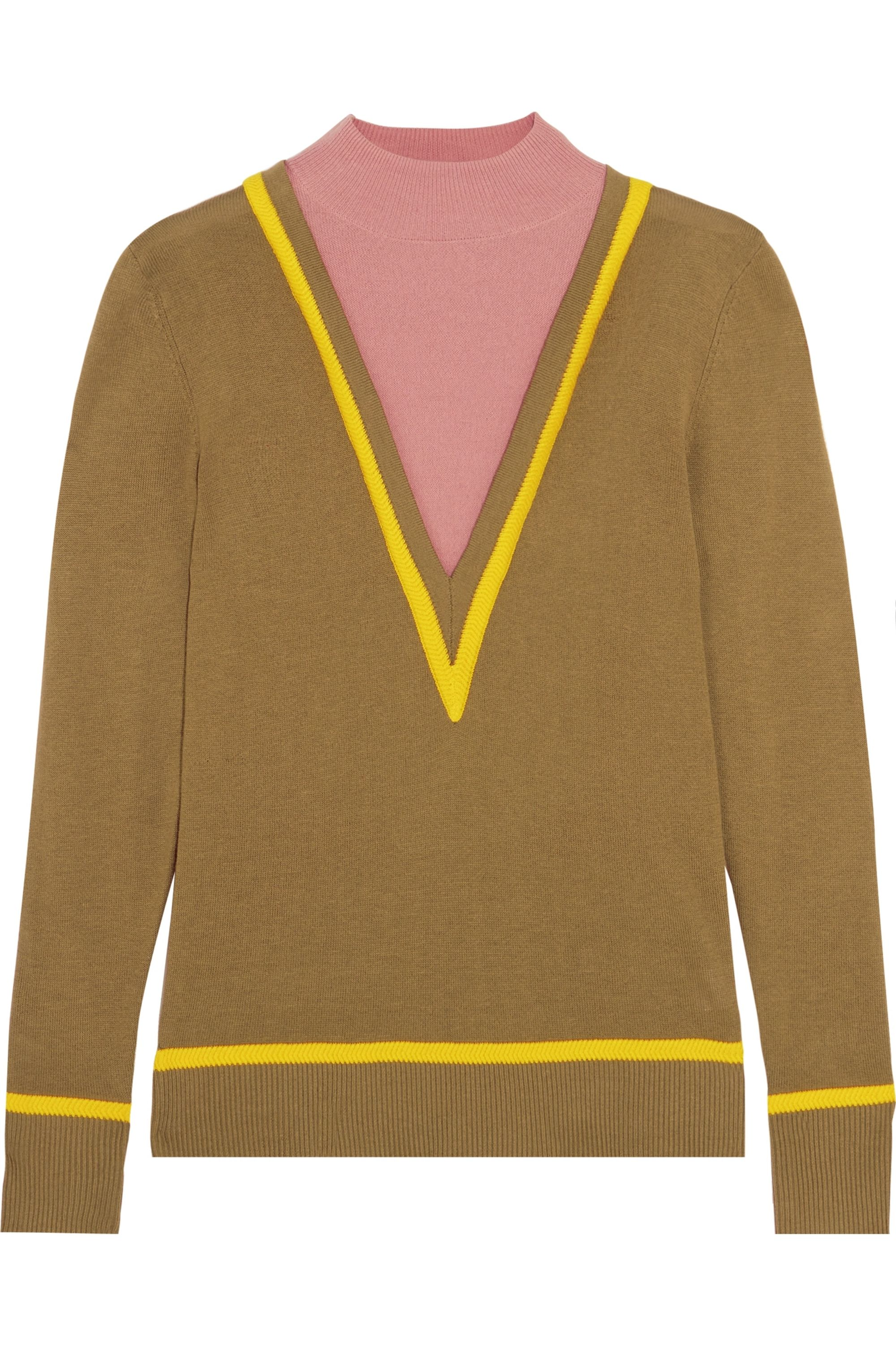 Victor Glemaud Layered cotton and cashmere-blend turtleneck sweater