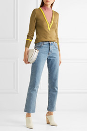 Layered cotton and cashmere-blend turtleneck sweater