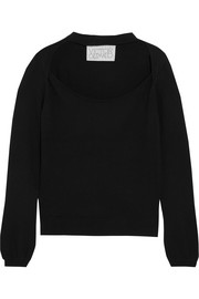 Cutout cotton and cashmere-blend sweater