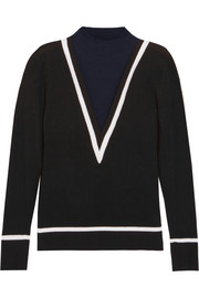 Color-block cotton and cashmere-blend turtleneck sweater