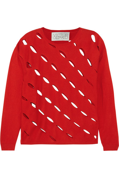 VICTOR GLEMAUD Cutout Cotton And Cashmere-Blend Sweater in Red