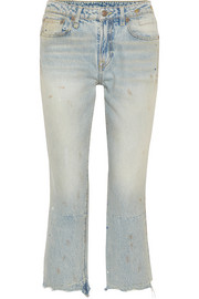 Kick Fit cropped distressed mid-rise flared jeans