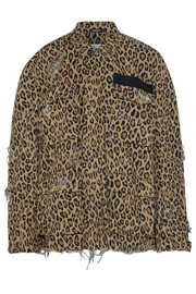 R13 Abu distressed leopard-print cotton-canvas jacket