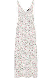 Floral-printed silk-satin maxi dress